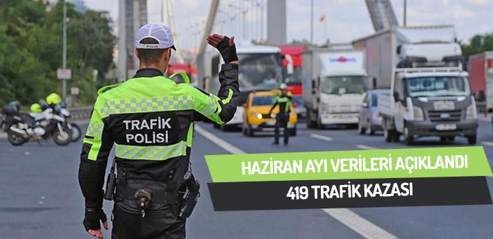 Haziran ayında 419 trafik kazası