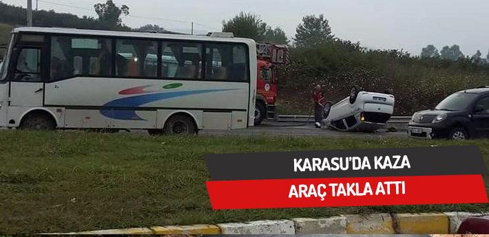 Karasu'da kaza,araç takla attı