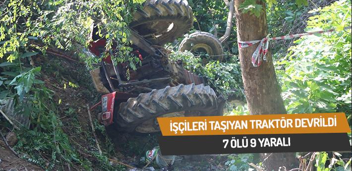 Fındık işçilerini taşıyan traktör devrildi