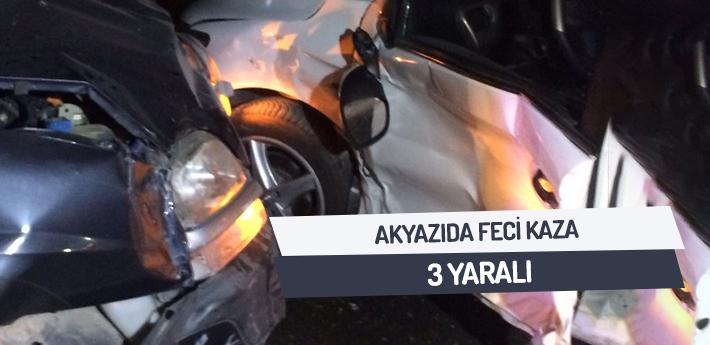 Akyazı'da feci kaza! 3 YARALI