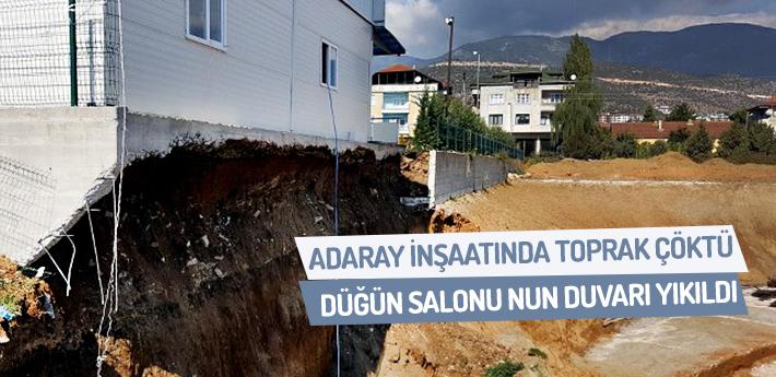 Adaray inşaatında toprak çöktü!