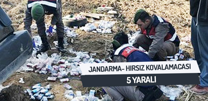 Jandarma-hırsız kovalamacası 5 yaralı