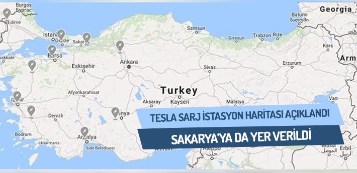 'Tesla Şarj İstasyonları' haritasında Sakarya'da yer aldı